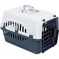 Home Discount portador del animal doméstico, jaula Animal Gato Perro caja de transporte cierre de resorte puerta, color blanco y gris