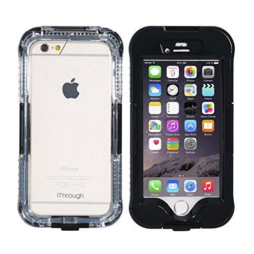 Coque Étanche pour iPhone 6s plus, iThroughTM Coque 6s Plus Case Housse Etui Etanche Imperméable, Étui D'Antipoussière, D'Antineige, D'Antichoc, Étuit Couverture Portable De Protection Robuste pour iP Noir