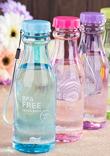 House of Quirk Portable Leak-proof BPA Free Unbreakable Sports, Travel, Fitness Plastic Water Bottle (Multicolour, 18.5 Oz, 550ml) - 3 Pieces