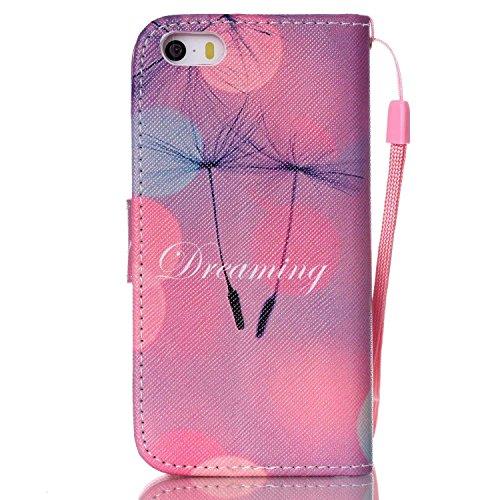 Meet de Apple iPhone 5S Bookstyle Étui Housse étui coque Case Cover smart flip cuir Case à rabat pour Apple iPhone 5S Coque de protection Portefeuille - papillon de pissenlit Dreaming