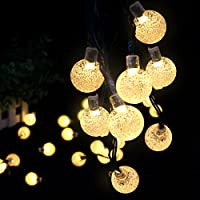 Globe Light String Outdoor Amazon outdoor string lights solar outdoor string lights ascher 30 led fairy light warm white crystal ball christmas globe workwithnaturefo