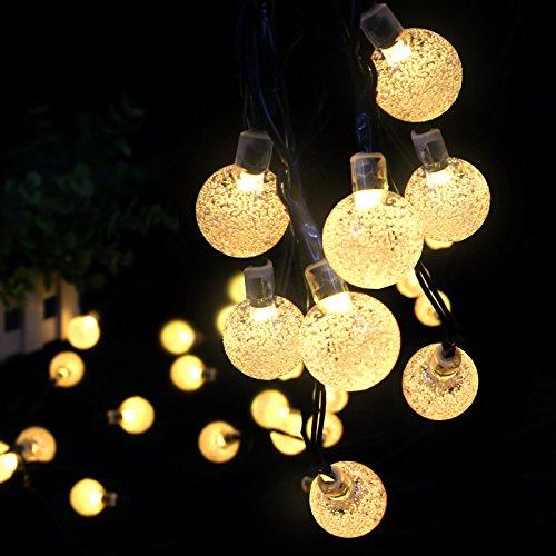 LED Solar Lichterkette - Ascher 30er LED Solar Lichterkette Garten Globe Außen, Warmweiß 6 Meter, Solar Beleuchtung Kugel für Party, Weihnachten, Outdoor, house decoration, Fest Deko usw (Bulit in 800mAh Battery)
