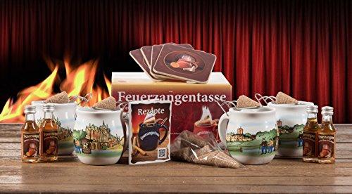 Feuerzangentasse 4er Set mit 4 x Rum und 4 x 3er Zimt-Zucker-Hütchen weiß Thüringen