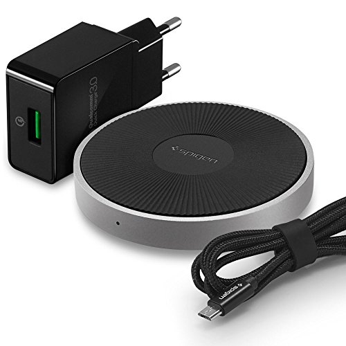 Spigen Essential All-in-One bis zu 15W Fast iPhone Wireless Charger [Apple iPhone 7.5W] [QC3.0 USB-Adapter im Lieferumfang] Qi Schnellladematte Wireless Ladegerät Induktive ladestation iOS, Android - F306W (Wallet Galaxy Light Samsung Case)