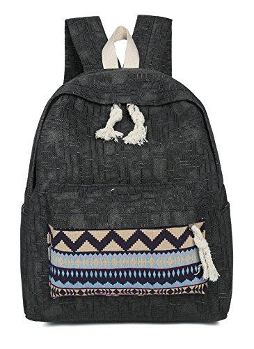 Tibes sac de toile sac vintage sac d'ordinateur portable à l'école Noir