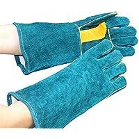 RFVBNM guantes de Soldadura/Guantes de Trabajo de Cuero/Horno de microondas de Alta Temperatura Resistente al Desgaste Guantes Generales Resistentes, Verde oscuro/40cm