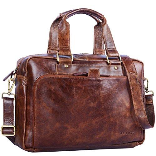 STILORD 'Jon' Vintage Leder Umhängetasche Herren Damen Laptoptasche 15.6 Zoll für große DIN A4 Aktenordner Business Büro Arbeit Uni echtes Büffelleder, Farbe:antik – braun