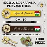 """SIGILLO GARANZIA DI QUALITA' """"Miele Italiano"""" 1000 pezzi GIALLO"""