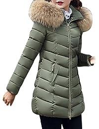 Reaso Parka Elegant Doudoune Hiver Femme Manteau Capuche Mi-Longue Chaud  Blouson Jacket Grande Taille d34eaab82ba6