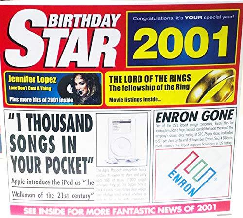 2001 GEBURTSTAGS-STERN Retro Gruß-Karte u. CD Geschenk - 2001 Musik-Diagramm-Schlag-Zusammenstellung CD u. Jahr-Gruß-Karte 6 x 5.5 Zoll