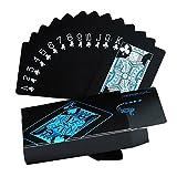 HighCool Juego de cartas, Plástico Jugando a las Cartas de Póquer Impermeable en PVC para Juegos de Magia - Negro (1 Pack)