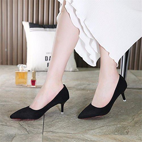 noir einzelne travail printemps saisons hauts Satin chaussures automne et Chaussures Chaussures de en hxvu56546au femme Talons CnxwZ66d