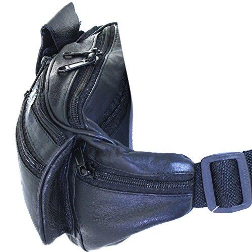 Echtes Leder-Gürteltasche / Gürteltasche Handyhalter By Silver Fever ® Schwarz mittel