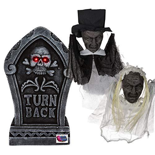 Halloween Grabstein, mit 2 LED & 2 Zombies | Party Dekoration | Grabmal | Gespensterparty | Grusel Party | Halloween Garten Dekoration | Party Zubehör | Geister | Halloween Accessoire | Party Ausstattung | Preis am Stiel®