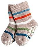 FALKE Unisex Baby Socken Multi Stripe Catspads, Grau (Taupe 5461), 74 (Herstellergröße: 74-80)