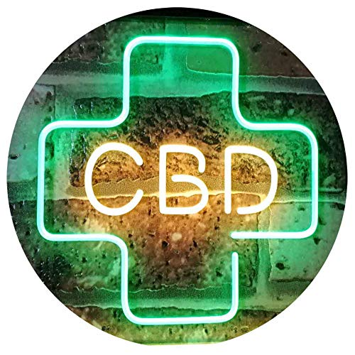 ADVPRO CBD Oil Sold Here Cannabidiol Medical Cross Indoor Dual Color LED Barlicht Neonlicht Lichtwerbung Neon Sign Green & Yellow 300mm x 210mm st6s32-i3083-gy