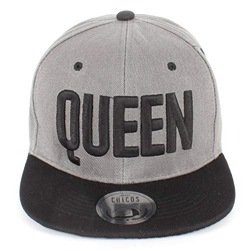9ed72f58b Chicos Unisex Herren Damen Partner Pärchen Cap King Queen NY MR MRS  Snapback Modell 2019 (One Size, Queen Steel Black)