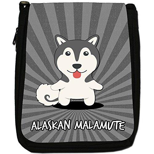 American Cartoon Dogs-Borsa a tracolla in tela, colore: nero, taglia: M Nero (Alaskan Malamute, Mal, Mally)