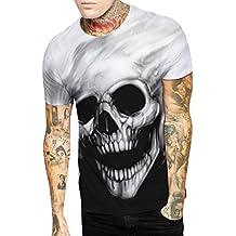 4b62c103a7b5e9 Paar Herren und Damen T Shirt Skull Head Digital 3D Druckt Rundhals Kurzarm  T-Shirt