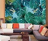 (360X280CM0, Alte Zeitung 3D tapete - Nordische kleine frische tropische Regenwald Bananenblätter - Wallpaper Poster Wanddekoration von Bestwind