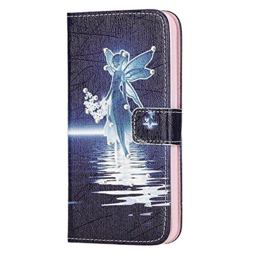 Coque Etui pour Galaxy S6, Galaxy S6 Coque Painted Relief Portefeuille PU Cuir Etui, Galaxy S6 Coque de Protection en Cuir Folio Housse, Galaxy S6 Leather Case Wallet Flip Cover Protector, Ukayfe Etui Diamant-Ange