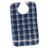 MagiDeal Wasserdichte Lätzchen für Erwachsene, Ältere, Behinderte, Erwachsene Lätzchen mit Tasche, Klettverschluss, Waschbar, Wiederverwendbar - Blau, 45x75cm