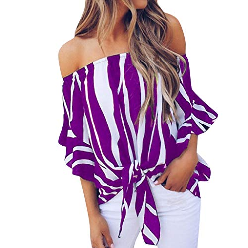 Sommer-T shirt für Damen,Dorical Frauen Schulterfrei Oberteil Elegant Streifen Bluse,Sommer Sexy Trägerlos Oversize Top T-Shirts,Damenkleidung S-4XL Ausverkauf(Lila,Medium)