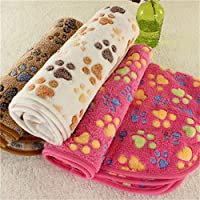 Gamloious New Cute Dog Bed Mats Soft Flannel Fleece Paw Print Warm Pet Blanket Sleeping Beds Cover Mat For Small Medium Dogs Cats