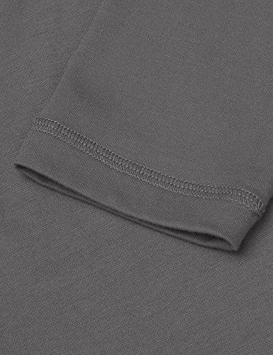 Coofandy herren Langarmshirt/Kurzarm Regular Fit mit knopfleiste V-Ausschnitt Basic T-Shirt männer Baumwolle,schwarz und weiß Dunkelgrau