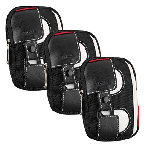 Zignum Digitalkamera-Tasche aus Nylon mit Innenpolsterung, wasserabweisend, Sparset (Schwarz/Weiß/Rot - 3 Stück)