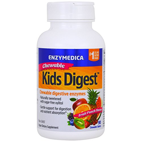 51S0RRwi8HL. SS500  - Enzymedica, Kids Digest, Chewable Digestive Enzymes, Fruit Punch, 90 Chewable Tablets