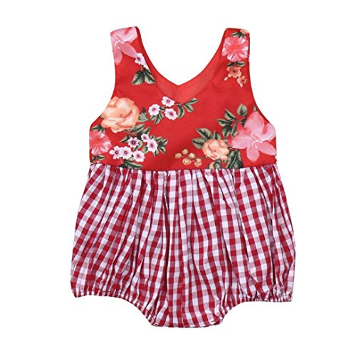 Cyond Baby Romper, Infant Baby Girls Playsuit Sleeveless Red Floral Print Plaid Vest Romper Jumpsuit Clothes Summer Sunsuit Casual Outdoor Bodysuit uit for 6 12 18 24 Months Baby