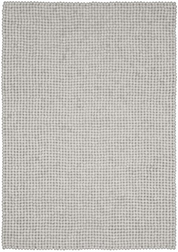 myfelt Linéa Filzkugelteppich, rechteckig, Schurwolle, weiß, 90 x 130 cm
