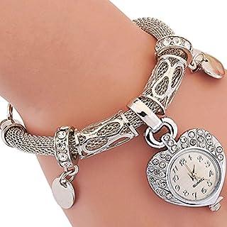 ALCYONEUS Fashion Women's Love Heart Bracelet Watch Charm Band Analog Quartz Wrist Watch (Silver)