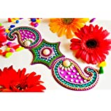 Sparkle CnC's Premium Quality Indian Traditional Electrifiying Acrylic Rangoli. Painstakingly Hand Crafted In Vibrant Colors. (Purple Big Kerri) Size: 11X11 Inch Total 7 Parts In This 1 Rangoli Set