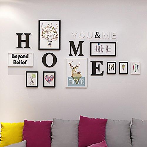 hjky Bilderrahmen Wand-Set massiv Holz Foto Aufkleber Wohnzimmer Wand- und retro-box Kombination von wall-bedroom Foto Wand Creative The black-and-white 8 X 10 Magnetische Bilderrahmen