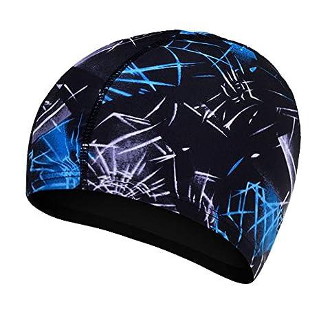 Neeiors Unisexe Femme Homme élastique Bonnet de bain souple Adulte Natation Spa Chapeau pour cheveux longs, Navy Blue Stripes