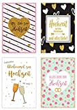 Set 4 exklusive Hochzeitskarten mit feiner Goldprägung Glimmerveredelung und Umschlag.