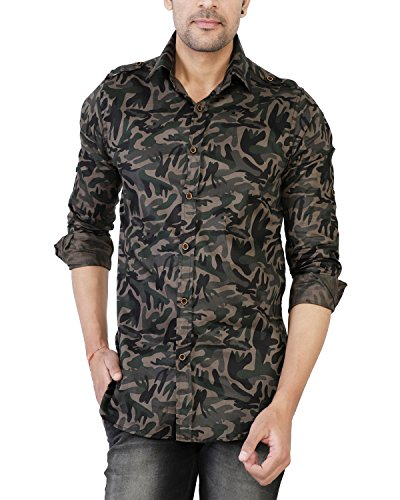 U-TURN Men's Cotton Military Casual Shirt (Green, XX-Large)