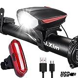 darkbeam DB01Lautsprecher Fahrrad Licht vorne und hinten Set mit 120db Horn, wasserdicht, USB wiederaufladbar Bike Scheinwerfer Set mit 5TONES Alarm Bell, Super Hell LED Taschenlampe Fahrrad-Zubehör, rot