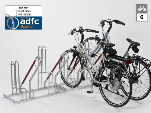 WSM Anlehnparker - Modell 4500 XBF, einseitig, 6 Einstellplätze - Fahrradparker Fahrradhalter Ständer für Fahrräder Zweiradparker Fahrradparker Fahrradhalter Ständer für Fahrräder Zweiradparker Fahrradparker Fahrradhalter Ständer für Fahrräder