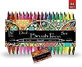 KrevoArt Dual Brush-Pens Set, 36 Fasermaler mit Fineliner, 8 Aquarellpapier, Kalligraphie, Hand-Lettering, Bullet Journal, Malen, Zeichnen