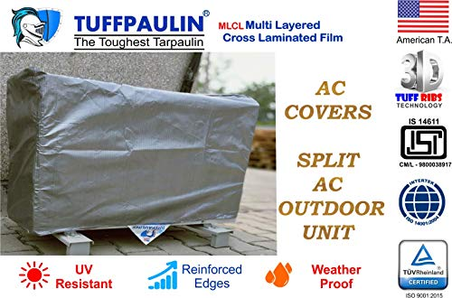 TUFFPAULIN AC Cover Dust-Proof Waterproof for Outdoor Unit 1.5/2 Ton Capacity (Silver) (1.5/2T Split Outdoor Unit)