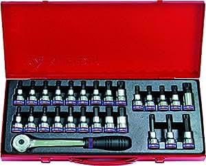 """KING TONY 4127PR Coffret de Douilles Torx® avec 6 Pans et XZN® avec Accessoires, Set de 27, 1/2"""""""