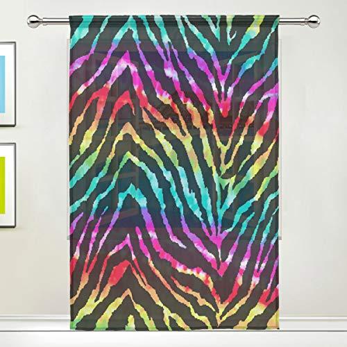 egenbogen-Tier-Zebra-Druck, Voile, für Wohnzimmer, Schlafzimmer, Tür, Küche, 139,7 x 198 cm, 1 Paneel, Textil, Multi, 55 x 78 inch ()