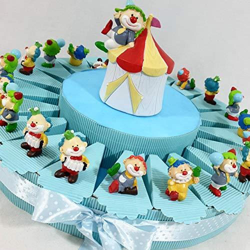 Idee Torte Gastgeschenk für Geburt Taufe Kindergeburtstag pagliaccietto Clown Zirkustiere sortiert Unterstützung Versand inklusive Torta Da 20 Fette
