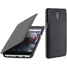 StilGut Book Type Case, Funda de piel auténtica para OnePlus 3 y One Plus 3T, Negro