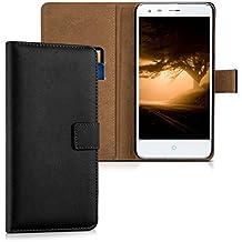 kwmobile Funda para ZTE Blade S6 Plus LTE 4G - Wallet Case plegable de cuero sintético - Cover con tapa tarjetero y soporte en negro