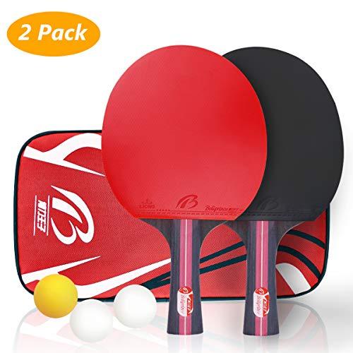 Juego de tenis de mesa, Tencoz tenis de mesa raqueta de ping pong set de entrenamiento raqueta de tenis de mesa Set 2 raqueta de tenis de mesa y 3 bolas + 1 bolsa portátil para interiores y exteriores