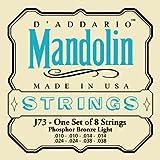 D\'Addario Cordes pour mandoline D\'Addario J73, bronze phosphoreux, Light, 10-38